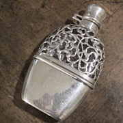 Sterling Silver Flask With Overlay, Circa 1900