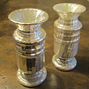 A Pair Of Antique Silver Mercury Glass Vases, Circa 1880