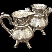 Victorian Wilcox Silver Plate Co Cream And Sugar, Circa 1870