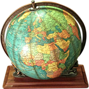 "Rare 12"" Cram Lighted Terrestrial Globe Supported By Twin Atlases"