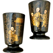 Pair Of Antique Chinoiserie Painted Papier Mache Match Holders