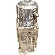 Antique Etched Crystal  And Silver Plate Perfume Atomizer