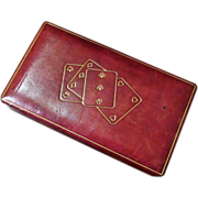 Vintage Italian Leather Playing Card Box, Circa 1950