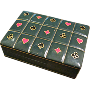 Vintage Italian Leather Playing Card Box, Circa 1960