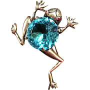 Vintage Figural Sterling Silver Frog Brooch With Gold Wash And Large Aqua Colored Center Stone