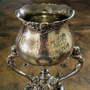 Vintage Silver Plate Bowling League Trophy With Mermaid Handles, Dated 1914-1915