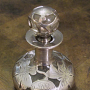 Antique Sterling Silver Overlay Perfume Bottle, Circa 1900