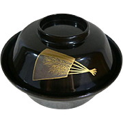 High Quality Japanese Lacquer Ware Bowl Wood Turtle Motif Makie