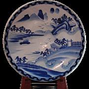 Antique Japanese Imari Large Plate Underglaze Blue And White Porcelain Plate