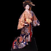 Bijin Ningyo Geisha Doll Japanese Collectible Doll Brocade Kimono Silk Life Like Pose