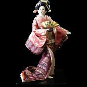 Gorgeous Japanese Geisha Doll Collectible Doll Gofun Silk Kimono Holding Sensu Life-like