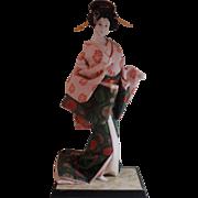 Gorgeous Japanese Bijin Geisha Doll Gofun Life-Like Pose Green Kimono Flowers