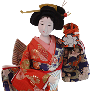 Geisha Doll Japanese Silk Kimono Brocade Japanese Doll