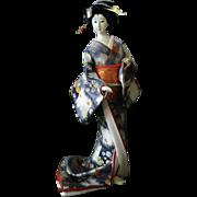 Japanese Bijin Geisha Doll Collectible Gofun Blue Flower Kimono