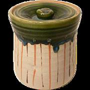 Japanese Vintage Oribe Mizusashi Water Container for Tea Ceremony