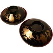 High Quality Chrysanthemum Motif Maki-e Set of 3 Japanese LACQUER Rice/Soup Bowl