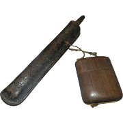 Japanese Pipe Case Holder with Pipe Inside Leather Pipe Case Kyoto