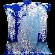 Japanese Furisode Silk Kimono Wedding Dress Yuzen Sakura Beautiful Color Purple White