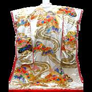 Fine Japanese Silk Uchikake Kimono Dress Wedding High Quality Embroidered