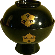 Japanese Old Lacquer Miso Bowl Rice Bowl  Kamon Flower Motif Makie Gold