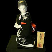 Kawaii JAPANESE Art Doll Hakata Doll Black Kimono Bamboo Motif By Dakuhakuyo