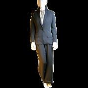 Authentic Vintage Hermes Pinstriped Silk Pant Suit Sz 36
