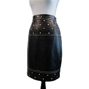 Vintage Escada LEATHER Skirt Size 36 Navy Leather with Gold Studs and White Stitching