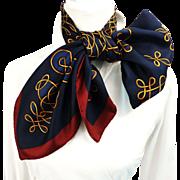 SALE Authentic Vintage Hermes Silk Scarf Vinci Navy Stunning - Buy 2 Vinci Scarves and SAVE ..