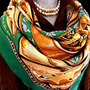 SALE Authentic Vintage Hermes Silk Scarf Au Son Du Tam-Tam Earthy Tones