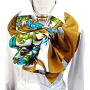 Hermes Silk Opera Reversible Shawl Le Mors a La Conetable RARE