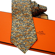 Authentic Pre-owned Hermes Silk Tie 7500 IA Neutrals