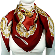 Authentic Vintage Hermes Silk Scarf Les Eperons Wine Red Colorway Early Issue - Buy 2 Les ...