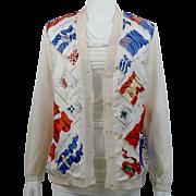 Vintage Hermes Silk Sweater Cardigan Pavois Beige Sz 40