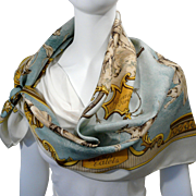 Authentic Vintage Hermes Silk Scarf Chiens et Valets Charles-Jean Hallo 1963 RARE