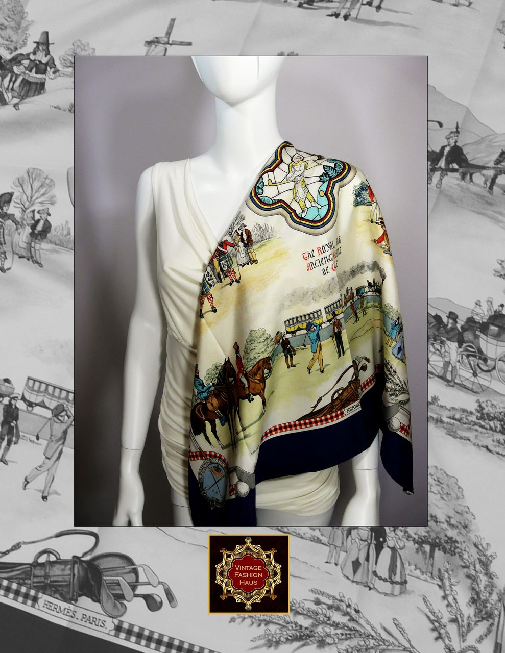 Authentic Vintage Hermes Silk Scarf  Carre The Royal and Ancient Game  Authentic Vintage Hermes Scarves