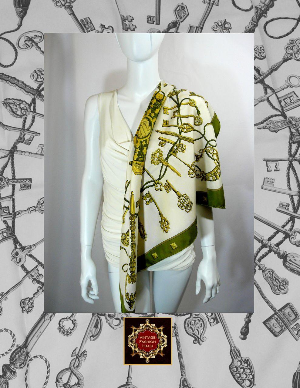 Authentic Vintage Hermes Silk Scarf LES CLS  Olive  Great Value  Vintage Hermes Silk Scarves