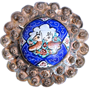 Persian Sterling Silver Filigree And Enamel Painted Porcelain Brooch/Pin