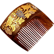SALE Grapes And Vines Paste Stones 18k Gold Inlay Celluloid Back Comb