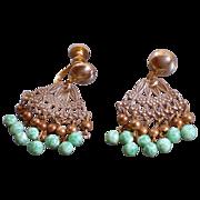 Vintage Fan Shaped Peking Glass Beads Earrings Signed Coro