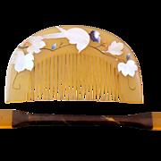 SOLD Bird Among Leaves Yellow Celluloid  Kougai and Kushi Set - Japan