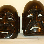 Wood Carved Comedy/Tragedy Masks