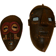 2 Carved Wood Masks - Ghana & S. Africa