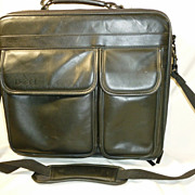 SALE Executive Briefcase Black Leather Computer or Ipad and Files