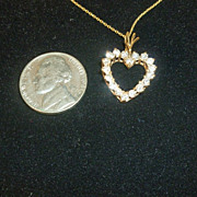Diamond Heart Pendant and Chain 14k Necklace Valentine Heart