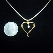 14k Gold Heart and Diamond Necklace Italy