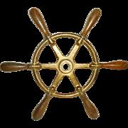 SALE Nautical Antique Bronze Ship Wheel Wood Handles