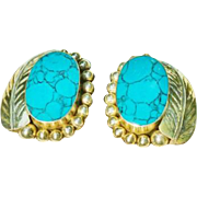 Sterling Silver and Turquoise Vintage Earrings Clip-ons