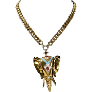 Rare Nettie Rosenstein Gold Tone Elephant Necklace