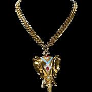 Rare Nettie Rosenstein Gold Tone Elephant Necklace