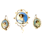 SOLD Set of 14K Gold Victorian Miniature Painting Pendant - Brooch and Earrings of Auguste ...
